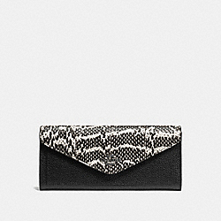 SOFT WALLET IN COLORBLOCK SNAKESKIN - f59008 - Chalk/Black/Dark Gunmetal