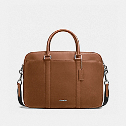 COACH PERRY SLIM BRIEF IN CROSSGRAIN LEATHER - DARK SADDLE - F59057