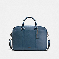 PERRY SLIM BRIEF IN CROSSGRAIN LEATHER - NICKEL/DARK DENIM - COACH F59057