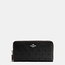 ACCORDION ZIP WALLET IN PERFORATED CROSSGRAIN LEATHER - f59059 - SILVER/BLACK