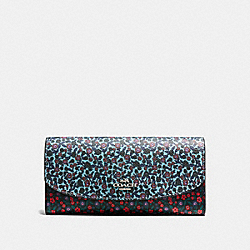 SLIM ENVELOPE WALLET IN RANCH FLORAL PRINT MIX COATED CANVAS - f59060 - SILVER/MULTI
