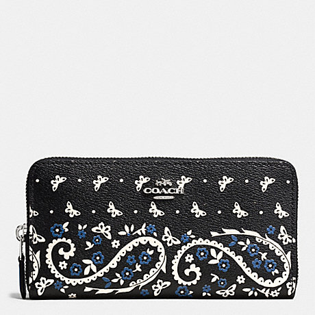 COACH ACCORDION ZIP WALLET IN BUTTERFLY BANDANA PRINT COATED CANVAS - SILVER/BLACK LAPIS - f59063