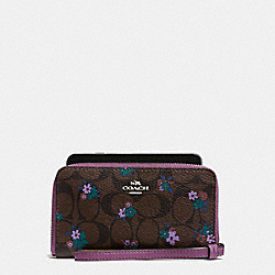 PHONE WALLET IN SIGNATURE C RANCH FLORAL COATED CANVAS - f59064 - SILVER/BROWN MULTI