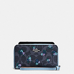 PHONE WALLET IN SIGNATURE C RANCH FLORAL COATED CANVAS - f59064 - SILVER/DENIM MULTI