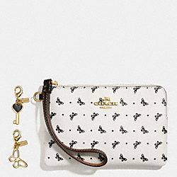 BOXED CORNER ZIP WRISTLET IN BUTTERFLY DOT PRINT COATED CANVAS WITH CHARMS - f59068 - IMITATION GOLD/CHALK/BLACK