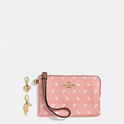 BOXED CORNER ZIP WRISTLET IN BUTTERFLY DOT PRINT COATED CANVAS WITH CHARMS - f59068 - IMITATION GOLD/BLUSH CHALK