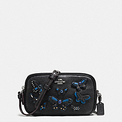 CROSSBODY POUCH IN PEBBLE LEATHER WITH BUTTERFLY APPLIQUE - f59070 - SILVER/BLACK