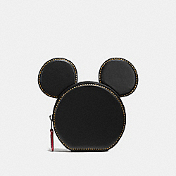 COIN CASE IN GLOVE CALF LEATHER WITH MICKEY EARS - f59071 - ANTIQUE NICKEL/BLACK