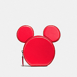 COIN CASE IN GLOVE CALF LEATHER WITH MICKEY EARS - f59071 - BLACK ANTIQUE NICKEL/BRIGHT RED