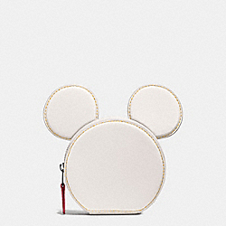 COIN CASE IN GLOVE CALF LEATHER WITH MICKEY EARS - f59071 - BLACK ANTIQUE NICKEL/CHALK