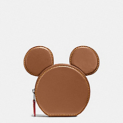 COIN CASE IN GLOVE CALF LEATHER WITH MICKEY EARS - f59071 - ANTIQUE NICKEL/SADDLE