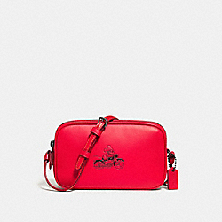 CROSSBODY POUCH IN GLOVE CALF LEATHER WITH MICKEY - f59072 - BLACK ANTIQUE NICKEL/BRIGHT RED