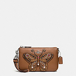 COACH LARGE WRISTLET 19 IN NATURAL REFINED LEATHER WITH BUTTERFLY STUD - SILVER/SADDLE - F59076