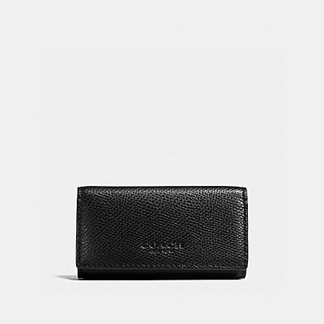 COACH f59107 4 RING KEYCASE IN CROSSGRAIN LEATHER BLACK
