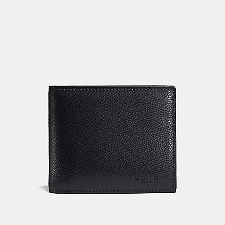 COACH COMPACT ID IN CROSSGRAIN LEATHER - MIDNIGHT NAVY - f59112