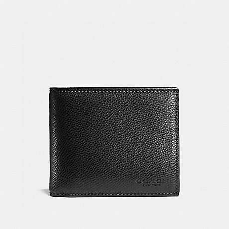 COACH COMPACT ID WALLET - BLACK - f59112