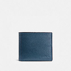 COMPACT ID WALLET IN CROSSGRAIN LEATHER - f59112 - DARK DENIM