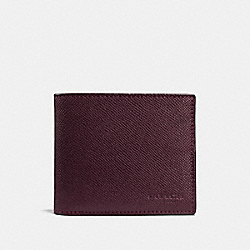 COMPACT ID WALLET IN CROSSGRAIN LEATHER - f59112 - OXBLOOD