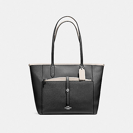 COACH f59125 CITY TOTE WITH POUCH IN CROSSGRAIN LEATHER SILVER/BLACK CHALK