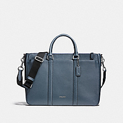 PERRY METROPOLITAN TOTE IN CROSSGRAIN LEATHER - f59141 - NICKEL/DARK DENIM