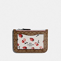 ZIP TOP CARD CASE IN SIGNATURE CANVAS WITH FRUIT PRINT - KHAKI MULTI/SILVER - COACH F59172