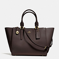 CROSBY CARRYALL IN SMOOTH LEATHER - f59183 - LIGHT GOLD/DARK BROWN