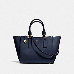 CROSBY CARRYALL IN SMOOTH LEATHER - f59183 - LIGHT GOLD/NAVY