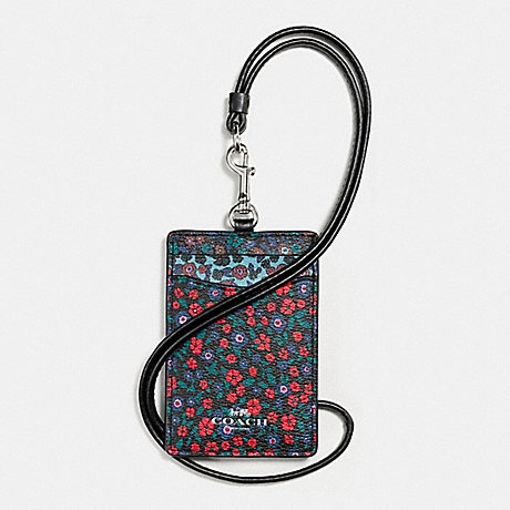 COACH ID LANYARD IN RANCH FLORAL PRINT MIX COATED CANVAS - SILVER/MULTI - f59228
