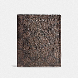 SLIM COIN WALLET IN SIGNATURE CANVAS - MAHOGANY - COACH F59283