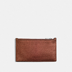 ZIP CARD CASE - RUST METALLIC - COACH F59287