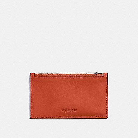 COACH ZIP CARD CASE - DEEP ORANGE - F59288