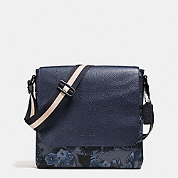CHARLES SMALL MESSENGER IN FLORAL HAWAIIAN PRINT CANVAS - BLUE HAWAIIAN FLORAL - COACH F59301