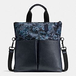CHARLES FOLDOVER TOTE IN FLORAL HAWAIIAN PRINT CANVAS - f59304 - BLUE HAWAIIAN FLORAL