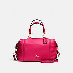 COACH LENOX SATCHEL IN PEBBLE LEATHER - IMITATION GOLD/BRIGHT PINK - F59325