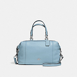 LENOX SATCHEL IN PEBBLE LEATHER - f59325 - SILVER/CORNFLOWER