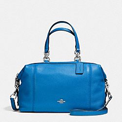 LENOX SATCHEL IN PEBBLE LEATHER - f59325 - SILVER/LAPIS