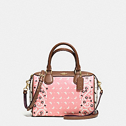 MINI BENNETT SATCHEL IN BUTTERFLY BANDANA PRINT COATED CANVAS - f59328 - IMITATION GOLD/BLUSH CHALK