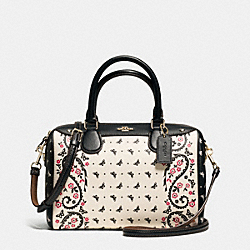 MINI BENNETT SATCHEL IN BUTTERFLY BANDANA PRINT COATED CANVAS - f59328 - IMITATION GOLD/CHALK/BRIGHT PINK