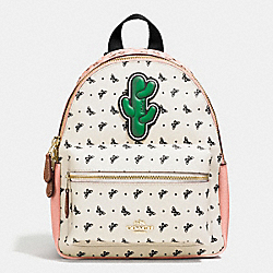 MINI CHARLIE BACKPACK IN BUTTERFLY BANDANA PRINT COATED CANVAS - f59330 - IMITATION GOLD/BLUSH CHALK