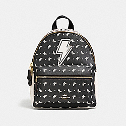 COACH MINI CHARLIE BACKPACK IN BUTTERFLY BANDANA PRINT COATED CANVAS - IMITATION GOLD/CHALK/BRIGHT PINK - F59330
