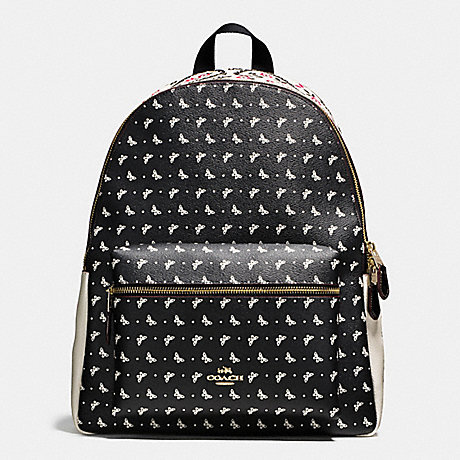 COACH CHARLIE BACKPACK IN BUTTERFLY BANDANA PRINT COATED CANVAS - IMITATION GOLD/CHALK/BRIGHT PINK - f59331