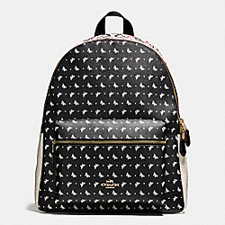 CHARLIE BACKPACK IN BUTTERFLY BANDANA PRINT COATED CANVAS - f59331 - IMITATION GOLD/CHALK/BRIGHT PINK