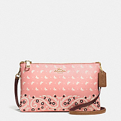 LYLA CROSSBODY IN BUTTERFLY BANDANA PRINT COATED CANVAS - f59332 - IMITATION GOLD/BLUSH CHALK