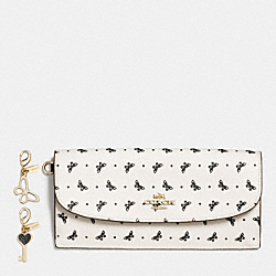 COACH BOXED SOFT WALLET IN BUTTERFLY DOT PRINT COATED CANVAS - IMITATION GOLD/CHALK/BLACK - F59334