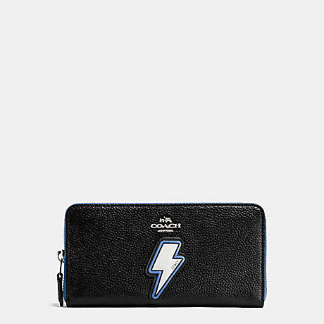 COACH LIGHTNING BOLT ACCORDION ZIP WALLET IN PEBBLE LEATHER WITH TWO TONE ZIPPER - SILVER/MULTICOLOR - f59336
