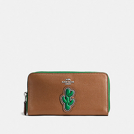 COACH CACTUS ACCORDION ZIP WALLET IN PEBBLE LEATHER WITH TWO TONE ZIPPER - SILVER/MULTICOLOR - f59338