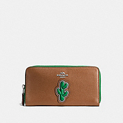 CACTUS ACCORDION ZIP WALLET IN PEBBLE LEATHER WITH TWO TONE ZIPPER - f59338 - SILVER/MULTICOLOR