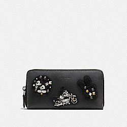 ACCORDION ZIP WALLET IN GLOVE CALF LEATHER WITH MICKEY PATCHES - f59340 - ANTIQUE NICKEL/BLACK MULTI