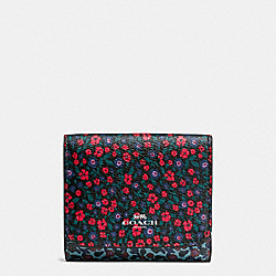 SMALL WALLET IN RANCH FLORAL PRINT MIX COATED CANVAS - f59341 - SILVER/MULTI