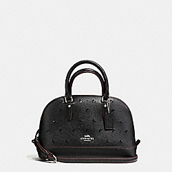 COACH F59346 - MINI SIERRA SATCHEL IN PERFORATED CROSSGRAIN LEATHER SILVER/BLACK